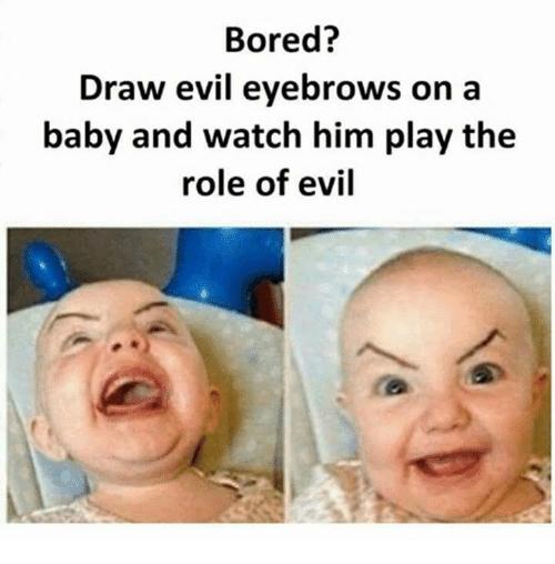 Funny evil eye brows on baby meme