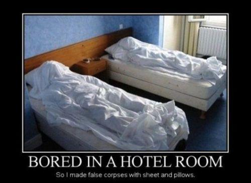 Funny boredom meme: bored in a hotel room