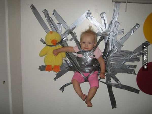 Funny Duct Tape Fixes Anything baby on the wall