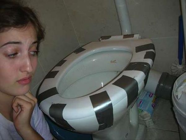 Funny Duct Tape Fixes Anything toilet seat