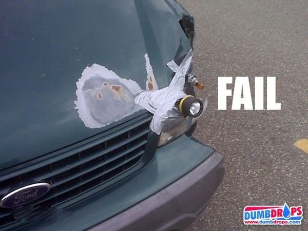 Funny Duct Tape Fixes Anything car light