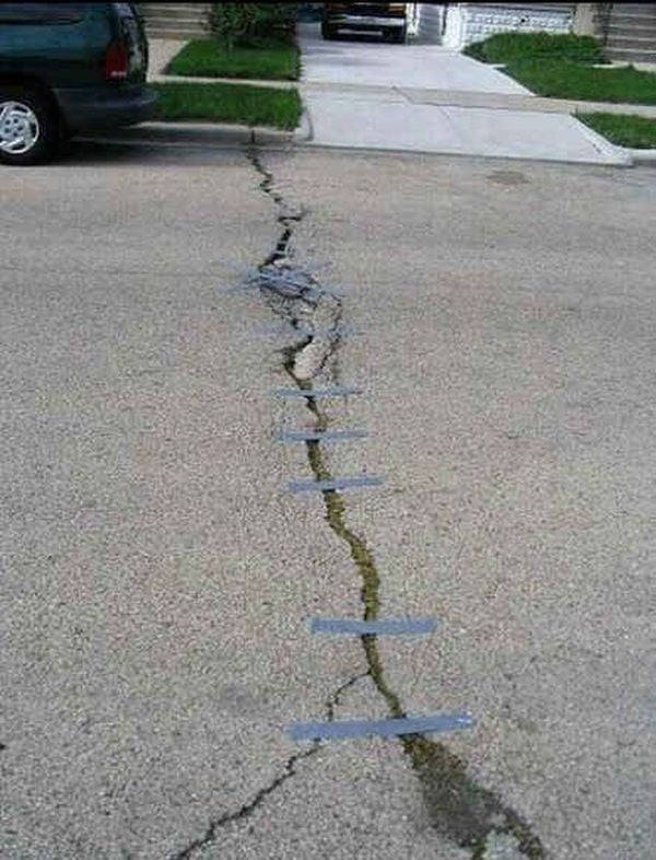Funny Duct Tape Fixes Anything road crack
