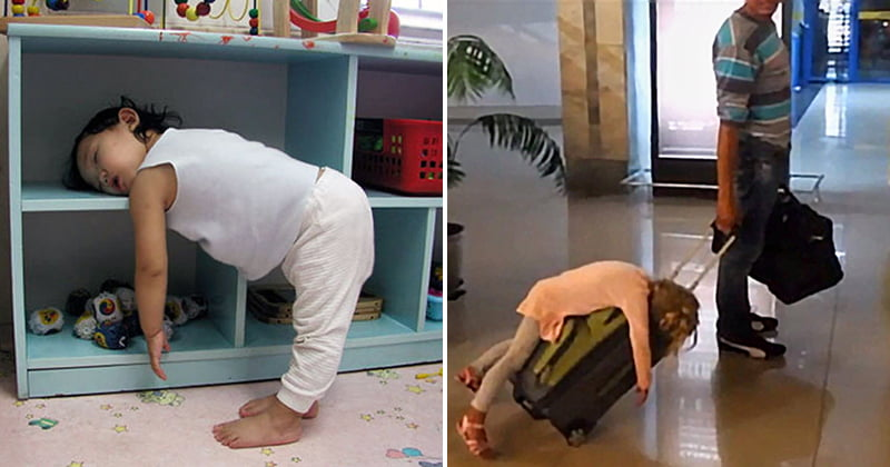 Kids fall asleep in funny places and positions