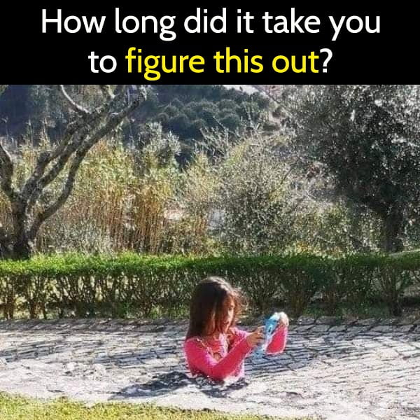 How long did it take you to figure this out? tricky photo no legs girl