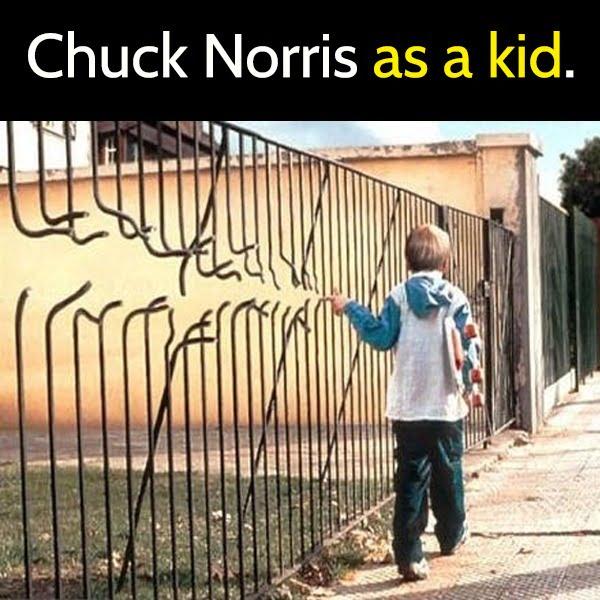 Funny meme June Chuck Norris when he was a kid.