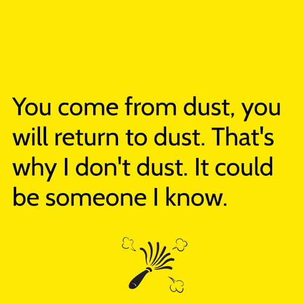 Funny meme June You come from dust, you will return to dust. That's why I don't dust. It could be someone I know.