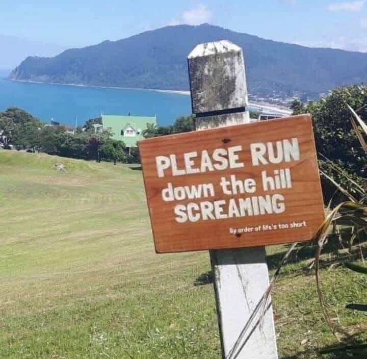 Funny Signs Please run down the hill screaming.