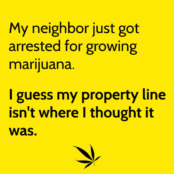 Funny random memes June My neighbor just got arrested for growing marijuana. I guess my property line isn't where I thought it was.