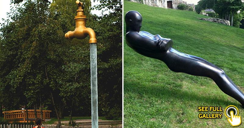 Statues Defying Gravity