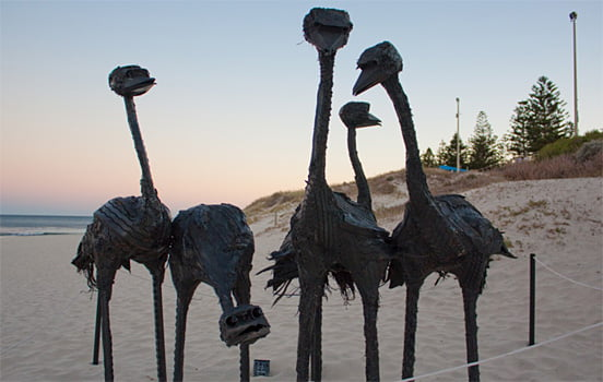 Interesting sculpture made of old recycled tires