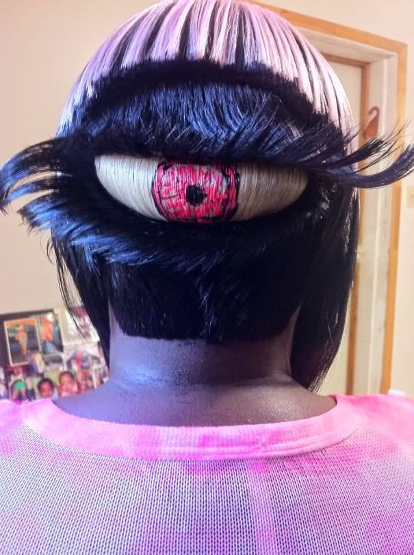 funny hairstyle fail eye