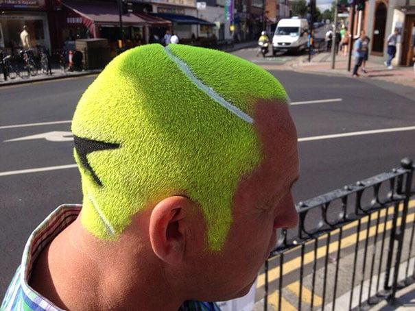 funny hairstyle fail tennis ball
