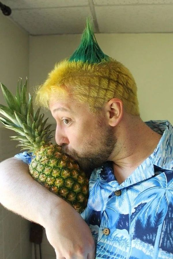 funny hairstyle fail pineapple