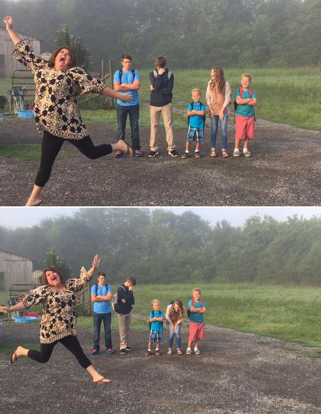 happy parents funny back to school photo idea