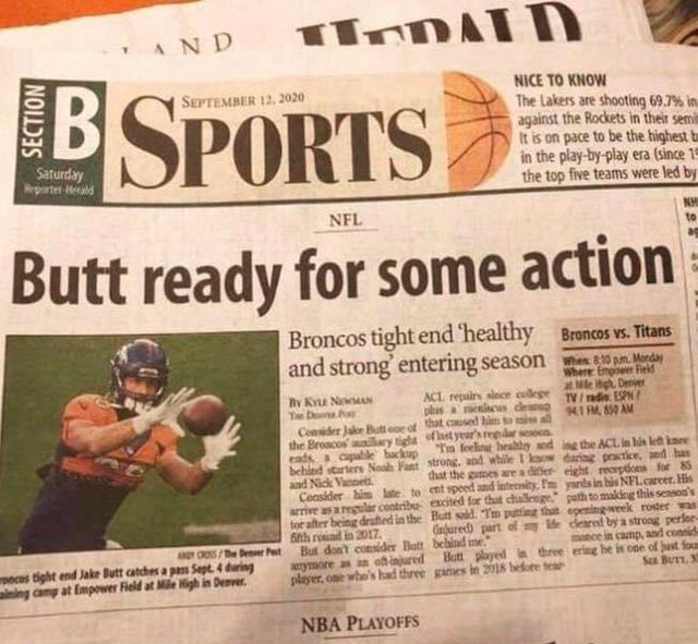 funny fails intentional joke butt ready for some action newspaper headline