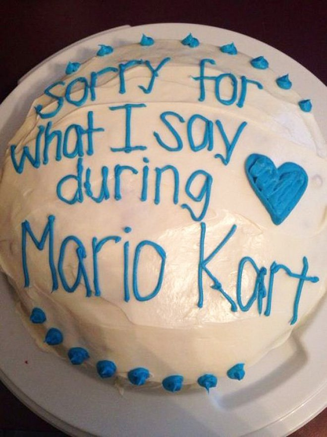 funny apology cake sorry for what I say during Mario Kart.