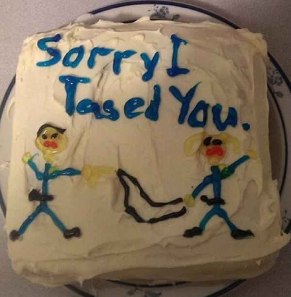funny apology cake sorry I tased you.