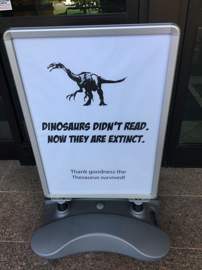 funny librarian joke sign