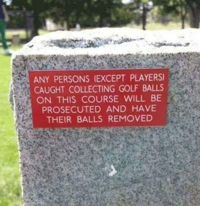 funny fails intentional joke golf ball sign