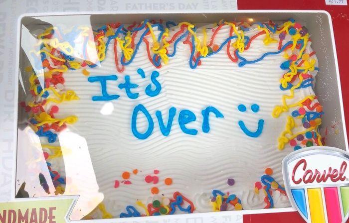 funny break-up cake it's over