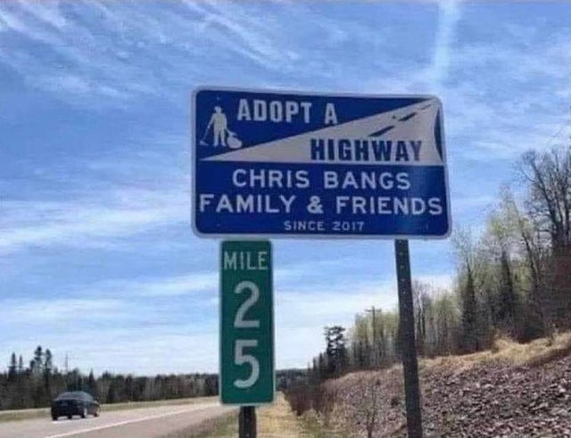 funny fails intentional joke chris bangs family and friends highway sign