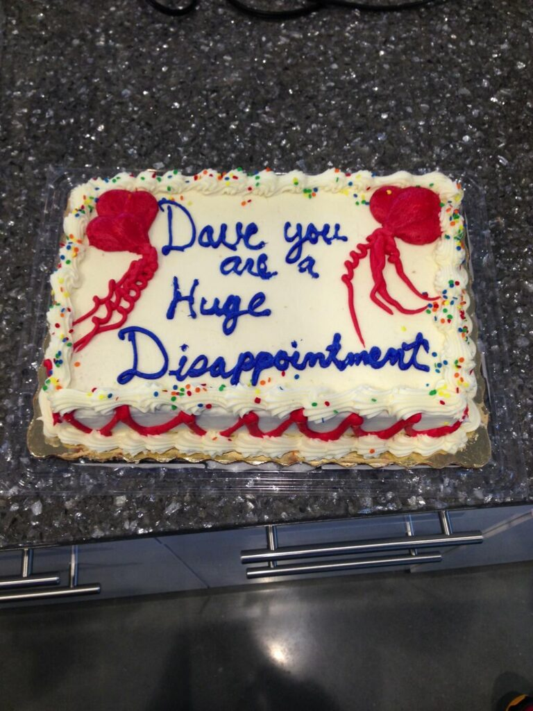 funny cake you are a huge disappointment